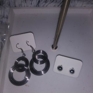 Bundle of Silver Toned Earrings.